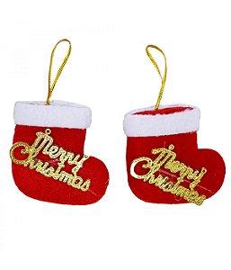 Jogo 2 Botas Natalinas Merry Christmas 6cm - Enfeite Natalino