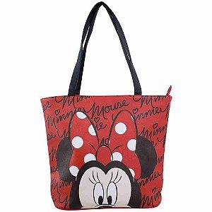 Bolsa Tote Vermelha Assinatura Rosto Minnie - Disney