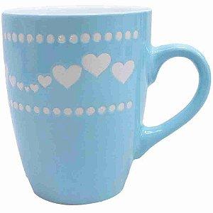Caneca Porcelana Azul Corações 320ml