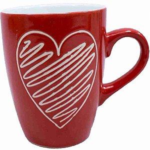 Caneca Porcelana Vermelha Coração 310ml