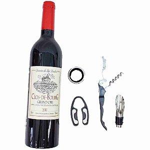 Jogo Utensílios De Vinho Formato Garrafa Lacre Vermelho