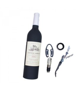 Jogo Utensílios De Vinho Formato Garrafa Lacre Prateado