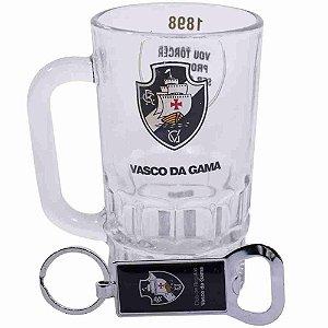 Caneca Vidro 330ml Com Abridor - Vasco