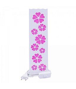 Luminária Torre Flores Coração Rosa 33cm