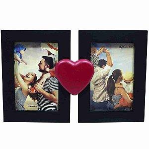 Porta Retrato Preto Casal Coração 2 Fotos 10X15cm