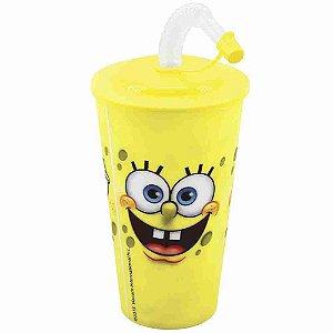 Copo 3D Com Canudo Dobrável Amarelo 550ml - Bob Esponja