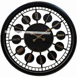 Relógio Parede Preto 50x50cm