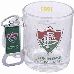 Caneca De Vidro Com Abridor De Garrafas 350ml - Fluminense