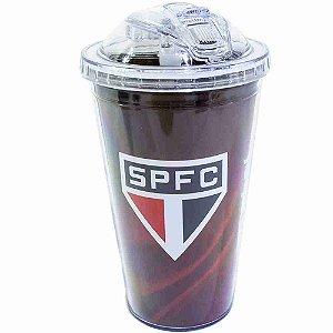Copo De Plástico Com Canudo 450ml - SPFC