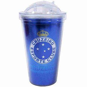 Copo De Plástico Com Canudo 450ml - Cruzeiro