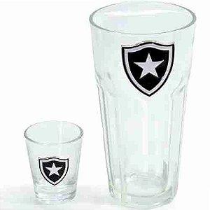 Jogo Com 2 Copos De Vidro 50ml E 460ml - Botafogo