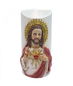 Sagrado Coração De Jesus Luminária Vela 17.5cm - Enfeite Resina