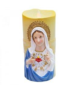 Sagrado Coração De Maria Luminária Vela 17.5cm - Enfeite Resina
