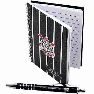 Caneta Roller Pen De Metal Com Caderno - Corinthians