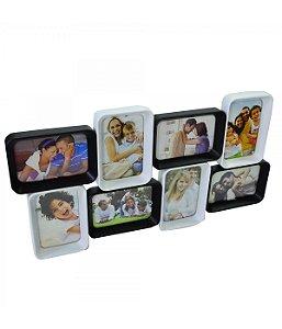 Multi Porta Retrato Preto E Branco Para 8 Fotos 10X15cm (De Pendurar) - Porta Retrato