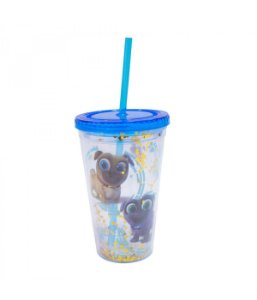 Copo Canudo Azul Puppy Dog Pals 450ml - Disney
