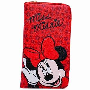 Carteira Vermelha Rosto Minnie 23x12cm - Disney