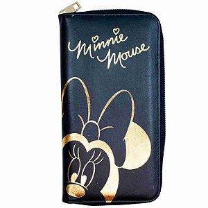 Carteira Preta Minnie Brilhante Dourada 23x12cm - Disney