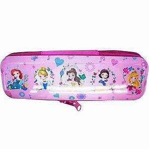 Estojo Metal Rosa Princesas Disney 6x3.5x19cm - Disney