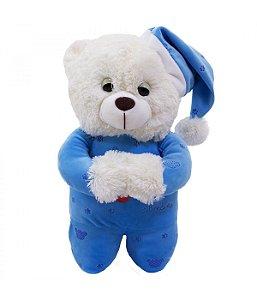 Urso Pijama Azul Escuro Reza 35cm - Pelúcia