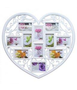 Multi Porta Retrato Coração Branco 11 fotos 10x15cm