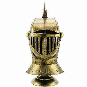 Enfeite Capacete Cavaleiro Medieval Dourado 48x22x25cm