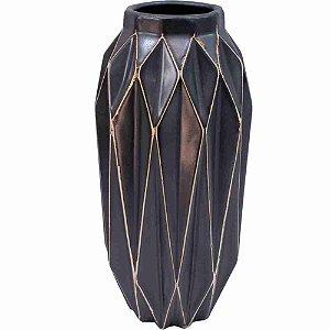 Vaso Porcelana Preta 27x12x12cm