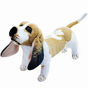 Cachorro Basset Hound Realista Em Pé 40cm - Pelúcia