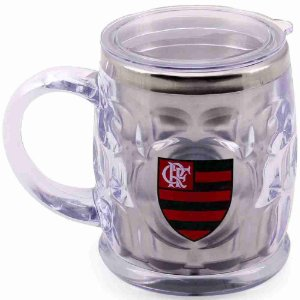 Caneca Térmica Transparente Com Tampa 500ml - Flamengo