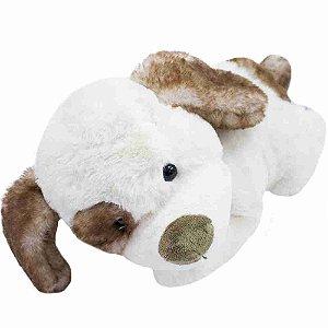 Cachorro Branco Deitado 33cm - Pelúcia