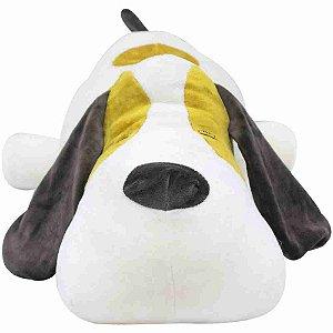 Cachorro Branco Deitado 48cm - Pelúcia