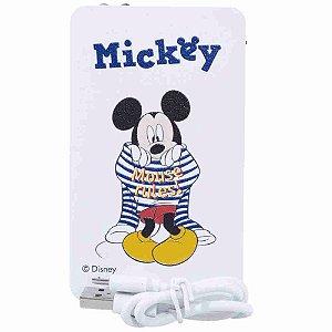 Carregador Portátil Branco Mickey Listras 2200Mah - Disney