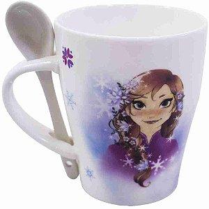 Caneca De Porcelana Com Colher Anna & Elsa Belas Frozen 310ml - Disney