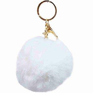 Chaveiro Pom Pom Branco 9cm
