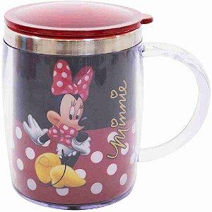Caneca Termica Preta E Vermelha Minnie 450ml - Disney