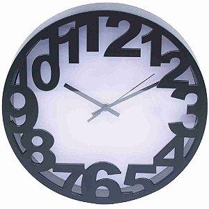 Relógio Arredondado Preto 30x30cm