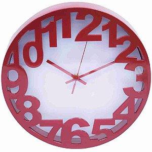 Relógio Arredondado Vermelho 30x30cm