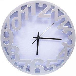 Relógio Arredondado Prata 30x30cm