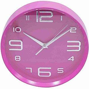 Relógio Parede Rosa Arredondado 25x25cm
