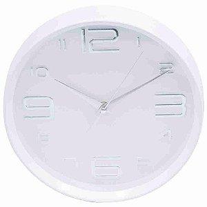 Relógio Parede Branco Arredondado 25x25cm