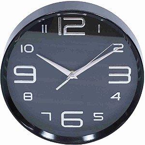 Relógio Parede Preto Arredondado 25x25cm