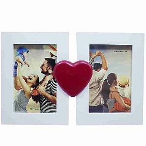 Porta Retrato Branco Casal Coração 2 Fotos 10X15cm