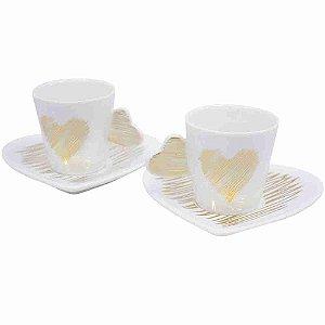 Jg 2 Canecas E Pires Porcelana Coração Dourado 80ml