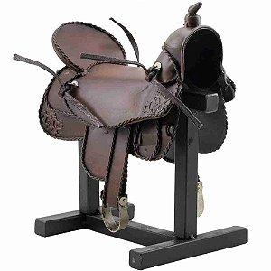 Sela Para Cavalo Marrom 21cm Estilo Retrô - Vintage