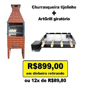Kit Churrasqueira Tijolinho + Artgrill Giratório promo