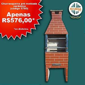 Churrasqueira pré-moldada tijolinho - cerâmica (Cód: 5780)