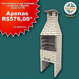 Churrasqueira pré-moldada cerâmica - Marfim (Cód: 5779)