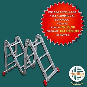 Escada articulada 13x1 alumínio 3x4 Botafogo (Cód: 6807)