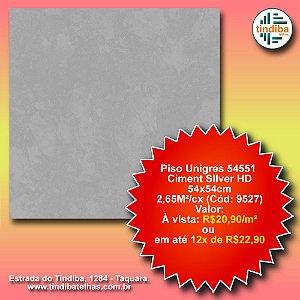 Piso Unigres Ciment Silver HD 54x54cm - 54551 - caixa c/ 2,65m² (Cód: 9527)
