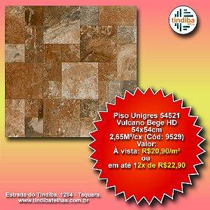 Piso Unigres Vulcano Bege HD 54x54cm - 54521 - caixa c/ 2,65m² (Cód: 9529)